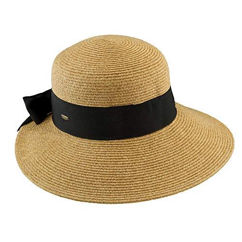 b2c94c00869 SCALA Women's Paper Braid Hat with Dimensional Brim, Tea, One Size