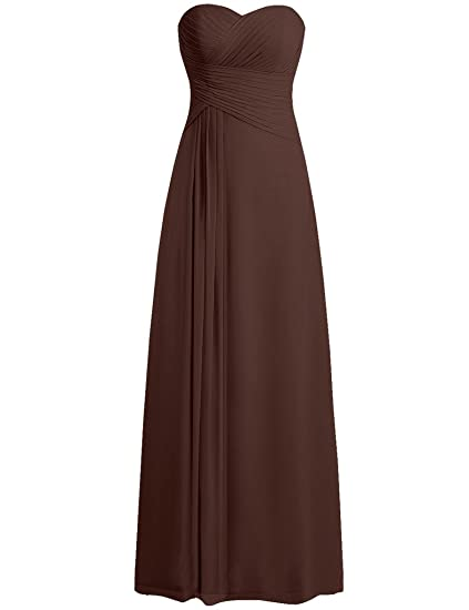 HUINI Strapless Long Chiffon Bridesmaid Prom Dresses Wedding Evening Party Gowns Chocolate UK28