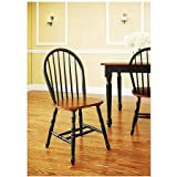 Better Homes and Gardens Autumn Lane Windsor Chairs (Set of 2 Black and Oak)