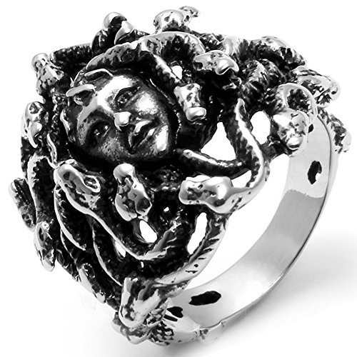 Flongo Men's Women Vintage Stainless Steel Greek Mythology Black Silver Goth Goddess Medusa Ring, Size 11
