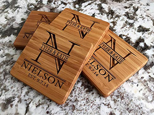 Personalized Wedding Gifts and Bridal Shower Gifts - Monogram Wood Coasters for Drinks (Set of 4, Nielson Design) by Qualtry (Image #2)