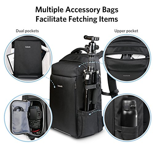 Inateck 3 in 1 DSLR Camera/15.6 Inch Laptop/Travel Backpack, Multifunctional Water Resistant Rucksack with Suitcase Design, Rain Cover and Tripod Holder, Black by Inateck (Image #3)