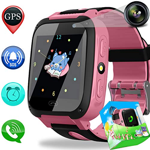 Duperym Smart Watch Phone GPS Tracker for Kids Girls Boys with Cellphone SOS Anti-Lost Alarm Clock Camera 1.44 Touchscreen Game Digital Wrist Watch Holiday Birthday Gifts