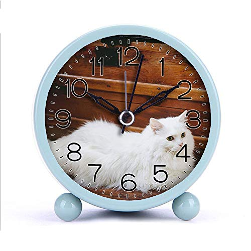 Cute Color Alarm Clock, Round Metal Desk Clock Portable Clocks with Night Light House Decorations -552.White Cat Lying Beside Brown Wooden Trunk (Black)