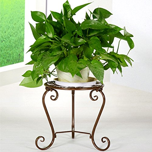 Brass Plant Stand (Flower stand Pot Plant Planter Herbs Flower Stands Indoor and Outdoor Use Vintage Style 1tier metal garden plant pot display shelf stand flower patio deck in- &outdoor (Color : Brass))