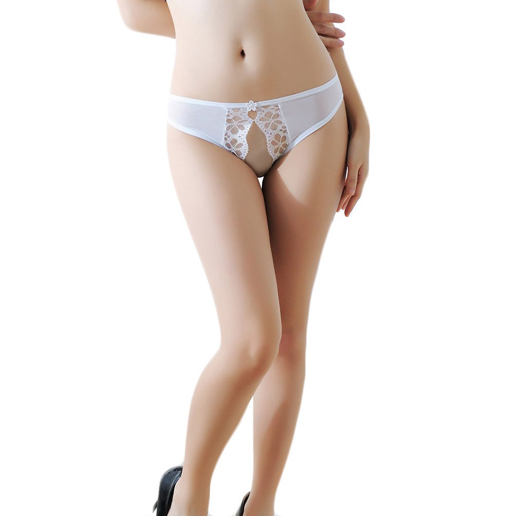 KHUFUZI Women's Sexy Floral Mesh Crotchless Panties G-String Thong Lingerie Underwear