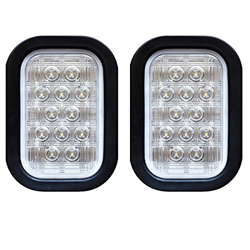 Qty 2 – 5×3″ White Rectangle 12 LED Backup Reverse Truck Tail Light with Grommet & Pigtail