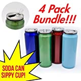 4 Pack Bundle - Soda Can Style Stainless Steel Vacuum Insulated Double Wall Thermos Tumbler Bottle with Flip & Sip Straw