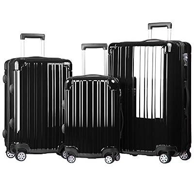Merax Dreamy ABS+PC 3 Piece Expandable Luggage Set with TSA Lock