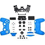 HIOTECH Game Controller Skin Replacement Part Front Back Controller Shell Polished Glossy Case Cover Protective for Sony PlayStation 4 PS4 Controllers (Blue)