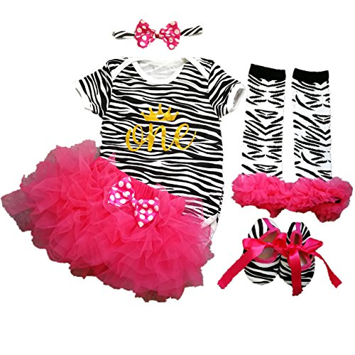 AISHIONY 4PCS Baby Girl 1st Birthday Tutu Outfit Newborn Zebra Party Dress L]()