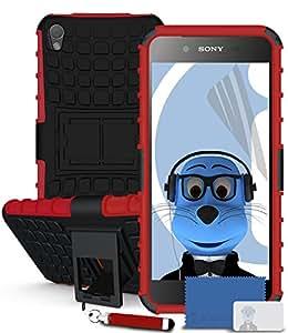 iTALKonline Sony Xperia Z5Negro Dura Scossa Cubierta Prueba robusta resistente de caso con el pie y LCD Vista Protector de incluye a juego de color retráctil Mini lápiz óptico y LCD Protector de pantalla.