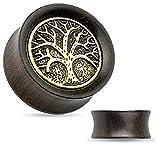 Tree of Life Organic Ebony Wood Saddle Tunnel Ear Plugs Ear Gauges - Sold As Pair