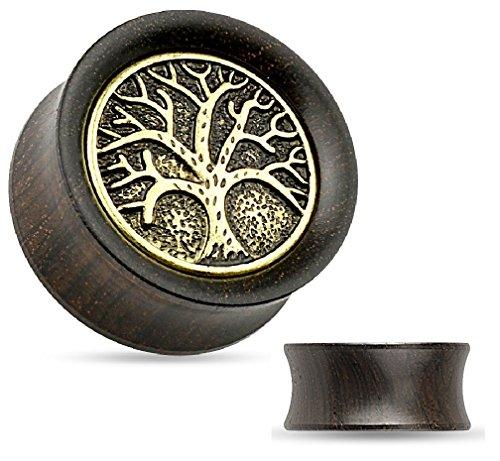 (Tree of Life Organic Ebony Wood Saddle Tunnel Ear Plugs Ear Gauges - Sold As Pair (12mm -)