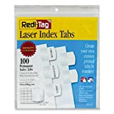 Wholesale CASE of 20 - Redi-Tag Laser Index Tabs-Laser Tabs Refill Sheets, 100 Tabs,1-1/8''x1-1/4'', White