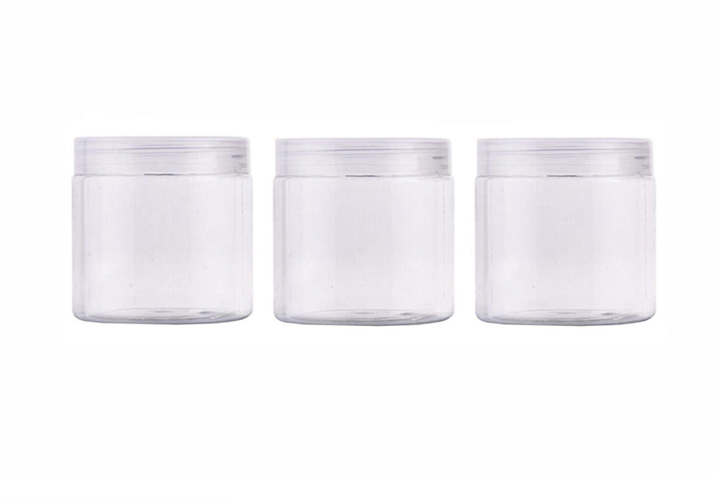 200ml 6.7 Ounce Clear Plastic Round Jars with Lid Empty Cosmetic Containers Bottle Case Pot for Storage Lotion Facial Cream Mask Ointment Tea Pill Food Sample(Pack of 3)