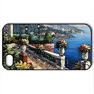 Water Garden - Case Cover for iPhone 4 and 4s (Houses Series, Watercolor style, Black)