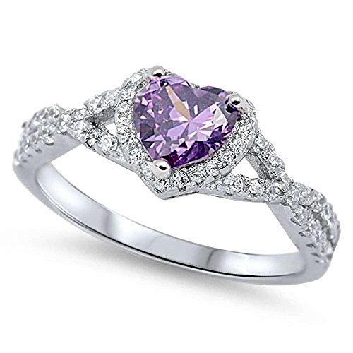 Oxford Diamond Co Sterling Silver Heart Halo Simulated Gemstone Promise Ring All Colors Available (4, Purple (Simulated - Stone Color Amethyst