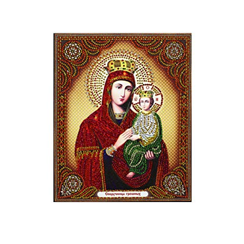 BoKo Religion Diamond 5D Painting DIY with Painting Kit Rhinestone Embroidery Cross Stitch Supply for Home Wall Decor Living Room (E)