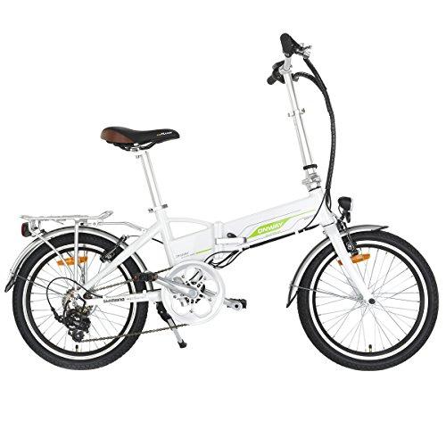 Onway Elektro-Faltrad, 20 Zoll, Präzise SHIMANO 6-Gang E-Bike, Weiß