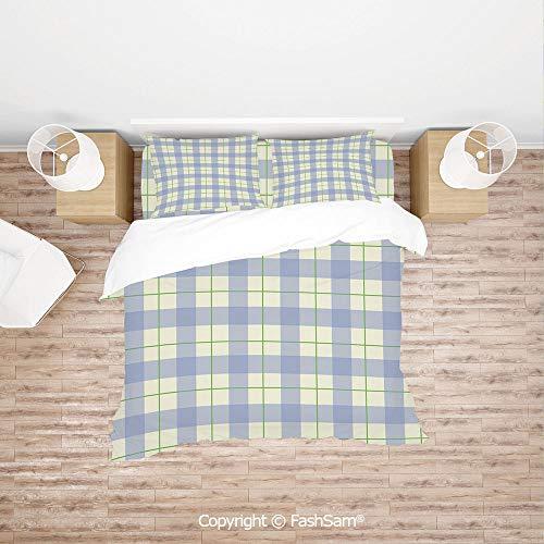 - FashSam Duvet Cover 4 Pcs Comforter Cover Set Celtic Style Classic Design Scottish Thin Lines Traditional Tile Decorative for Boys Grils Kids(Double)
