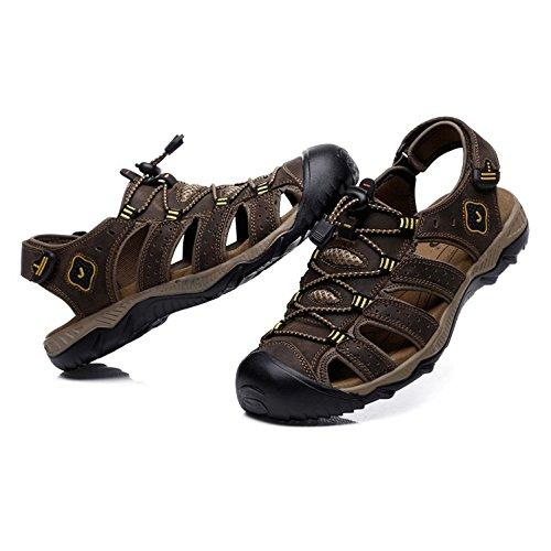 Aire De Brown Libre Caminar Verano Senderismo Para La Zapatos Los Hgdr Al Cofffee Hombres Cerrada Cuero Playa Punta Sandalias A05wq6IfxO