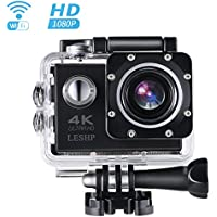 Action Camera, 16 MP 4K Full HD 1080P WiFi Waterproof Mini Sport Cam with 170 Wide-Angle Lens, 2.0 Inch LTPS Screen and Detachable Rechargeable Battery (Black)