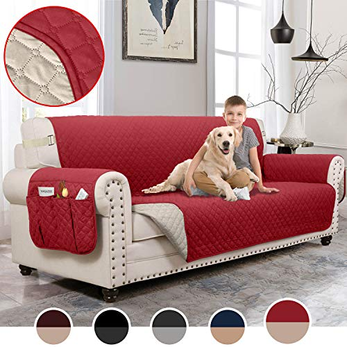MOYMO Reversible Sofa Cover, Water Resistant Sofa Slipover with Pockets, Couch Covers for 3 Cushion Couch, Machine Washable Sofa Covers for Dogs, Children, Pets,Kids(Sofa:Burgundy/Beige)