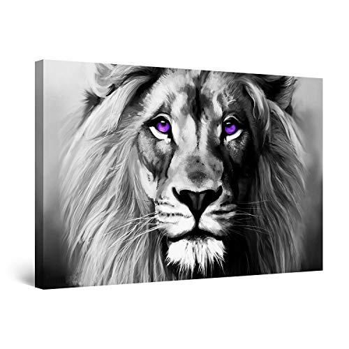 STARTONIGHT Canvas Wall Art Black and White Abstract Lion Serenity Animal Ruler, Framed Wall Decor 24 x 36 Inches (Make Your Own Wallpaper For Your Phone)