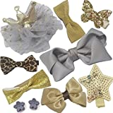 Fashion Boutique 10pcs Baby Hair Clips for Fine Hair No Slip 0-6 Edges Hair Barrettes Bow Hair Accessories for Baby Infant Toddlers Girl Birthday Christmas Gift (Gold+Grey)