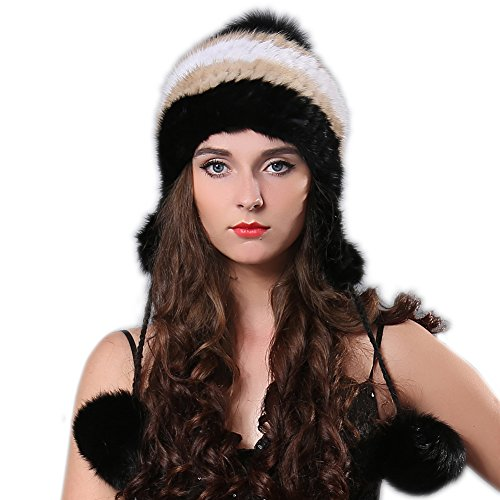 FURTALK Fashion Mink Fur Knitted Hat with Ear Flap Pom Poms Women Cap