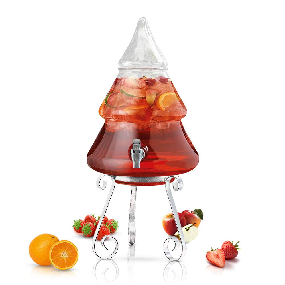 Christmas Tree Beverage Dispenser With Spigot - 2 Gallons Thick Glass With Stand for Parties, Bars, Buffet or Drink Station