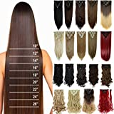 "8PCS/SET Full Head Clip in Hair Extensions 140Grams Thick Real Natural Top Synthetic Hair Hairpiece for women lady(26""-Straight,Light Brown)"