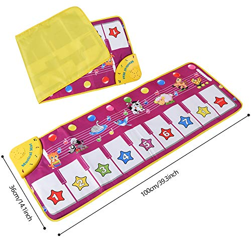 ALANGDUO Piano Musical Mats, Kids Children Touch Play Game Dance Music Animal Blanket Carpet Mat, Boys Girls Baby Early Education Toys