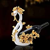 XiYunHan Creative Lily Couple Swan Wine Rack European Style Home Wine Cooler Decoration KTV Hotel Decoration Wine Bottle Holder Desktop Living Room Decoration Display Stand Resin Crafts