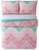 My World LHK-COMFORTERSET Antique Chevron Twin XL Comforter and Sham X-Large, Pink/Turquoise