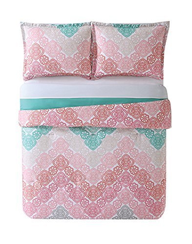 My World LHK-COMFORTERSET Antique Chevron Twin XL Comforter and Sham, Twin/Twin, Pink/Turquoise (Pem America Twin Bedding)