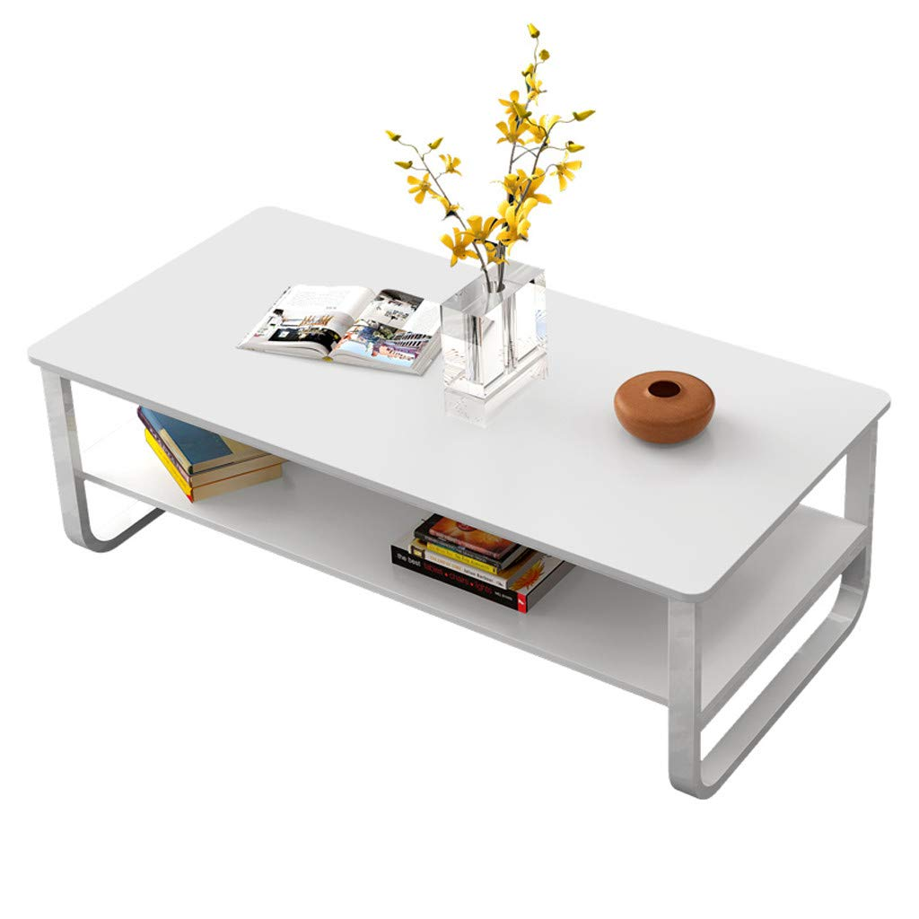 WONdere Simple Modern Living Room Double Coffee Table 47×22.8Inch Black/White (White)