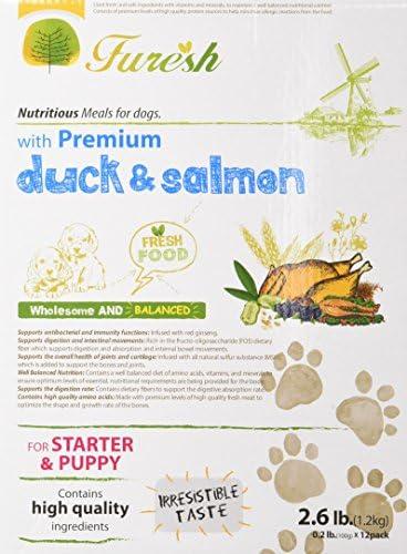Furesh Dry Dog Food w Premium Duck Salmon, 2.6 Lb- 4 Boxes
