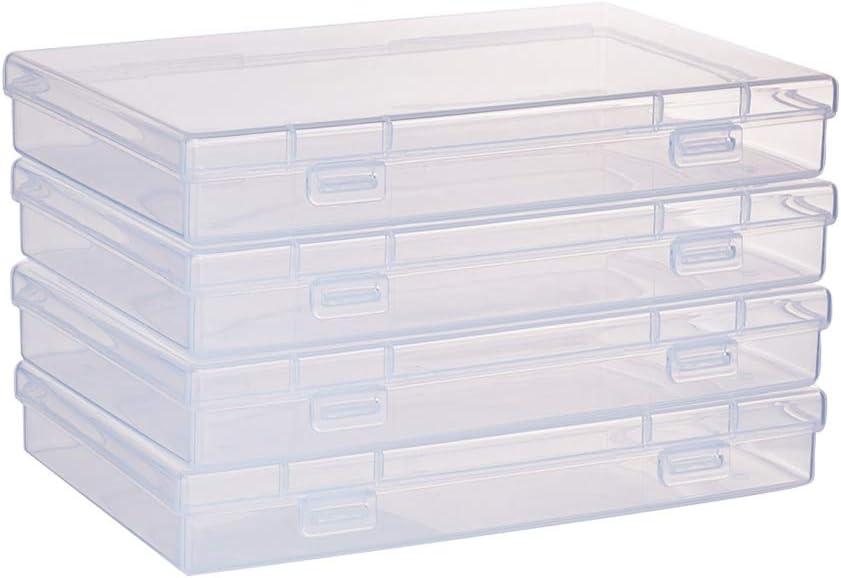 BENECREAT 4 Pack Caja Rectángula de Plástico Transparente con Tapa de Bisagras 17x10.5x2.6cm Contenedor de Abalorios de Plástico para Artículos, Pastillas, Hierbas, Cuentas Pequeñas