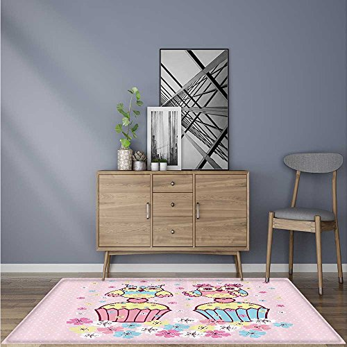 Water-Repellent Rugs Two Owl Couples Cupcakes Springtime Romantic Occasis Children Anti Bacterial,Latex 5' X 7'