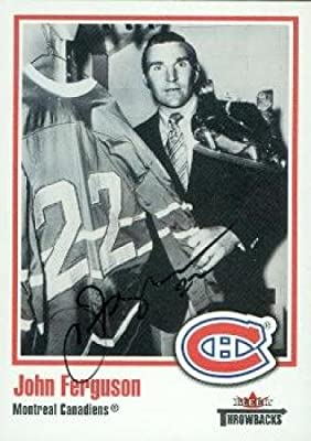 Autograph Warehouse 63449 John Ferguson Autographed Hockey Card Montreal Canadiens 2002 Fleer Throwbacks No. 48