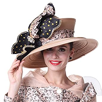 Kueeni Women Church Hat Champagne Big Hat Stones Special Occasion at Amazon  Women s Clothing store  a5c8ff63c5c