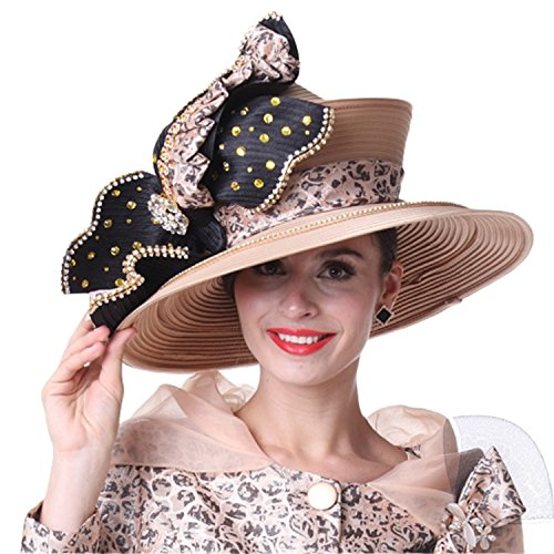 Kueeni Women Church Hat Champagne Big Hat Stones Special Occasion ()