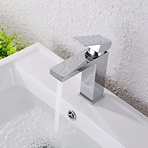 KES Lead-Free Brass Bathroom Sink Faucet Single Handle Lavatory Single Hole Vanity Sink Faucet Polished Chrome, (Tall Double Sink Vanity)
