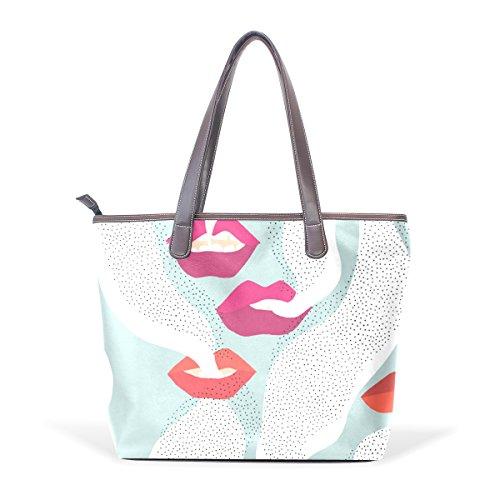 COOSUN Ladies Lips Pu Leder Große Einkaufstasche Griff Umhängetasche