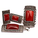 GEM-inside Semi Red Agate Rectangle Antiqued Tibeten Silver Ring Earrings Pendant Fashion Jewelry