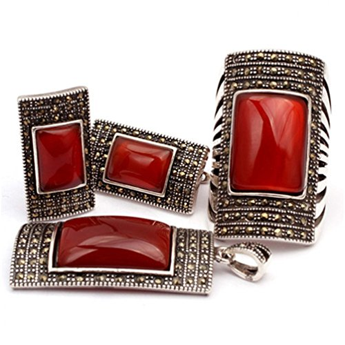 GEM-inside Semi Sapphire Red Agate Rectangle Antiqued Tibeten Silver Ring Earrings Pandant Set Fashion Jewelry For -