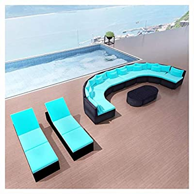 K&A Company Outdoor Furniture Sets, 13 Piece Garden Lounge Set with Cushions Poly Rattan Blue
