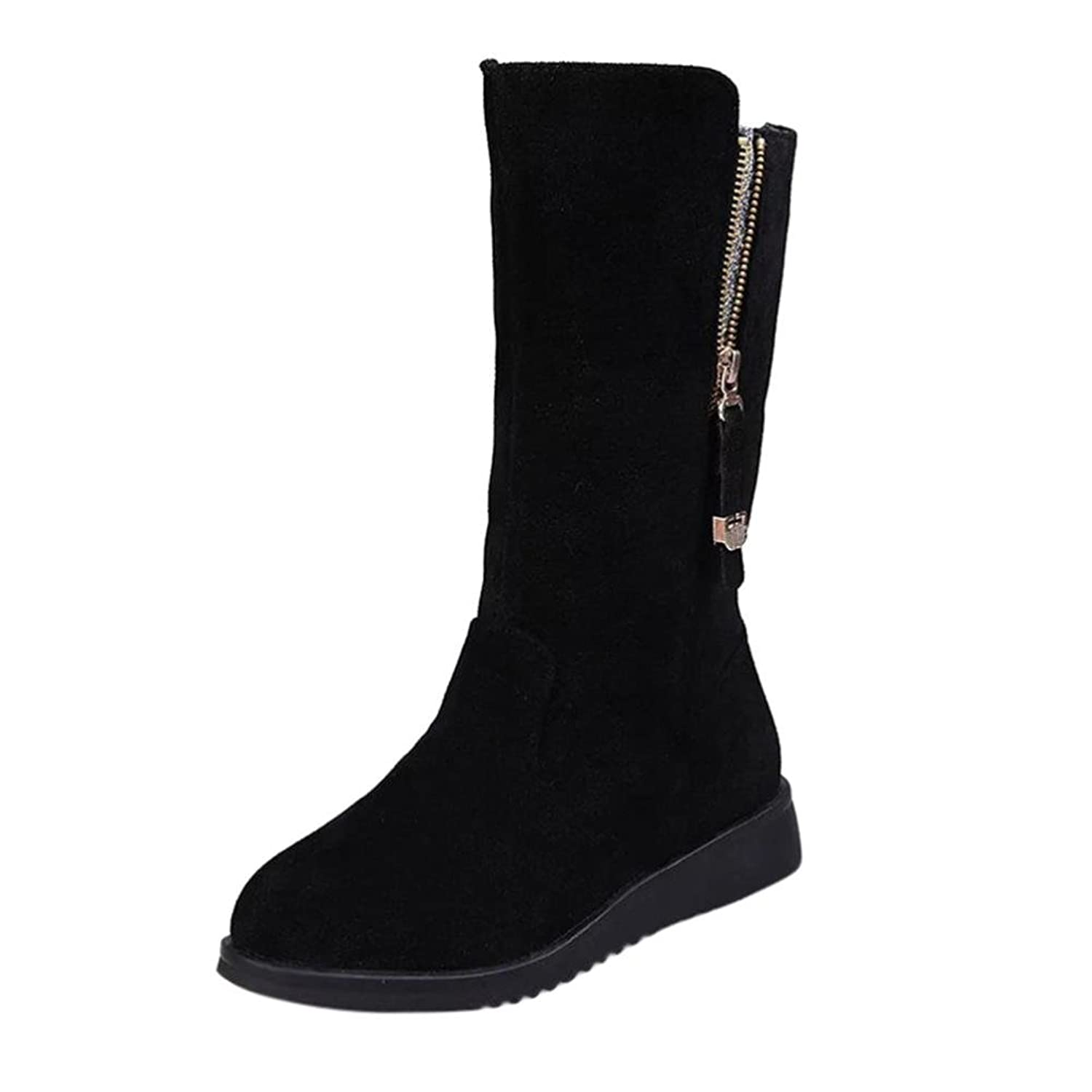 Amiley Hot Sale Women Buckle Ladies Faux Warm Bling Knight Boots Flat Martin Mid-Calf Boots Shoes